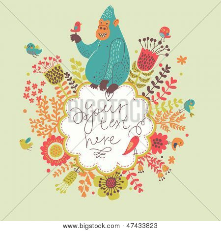 Vintage floral frame with funny gorilla in love. Vector background with flowers, birds and place for text. Birthday card design