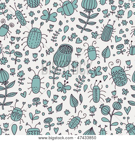 Cute bugs in flowers. Cartoon seamless pattern with bugs and flowers. Butterflies in meadow