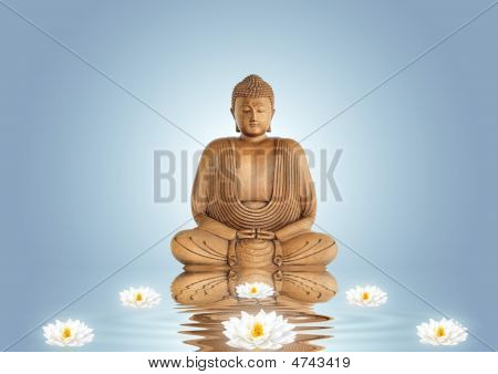 Buddha And Lily Flowers