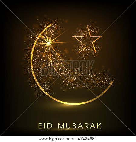 Shiny illustration of moon and star with text Ramadan Kareem on abstract brown background.