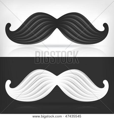 Relief white mustache and black mustache creative concept.
