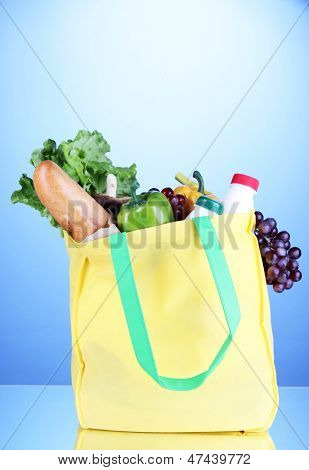 Eco bag with shopping on blue background