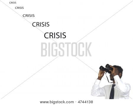 Man With Binoculars Looking The Crisis