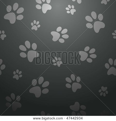 Black Dog Footprints Pattern