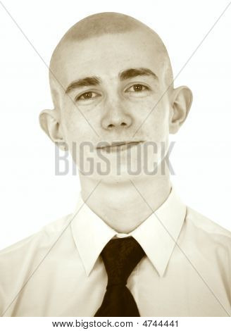 Faded Portrait Of The Young Man On A White Background