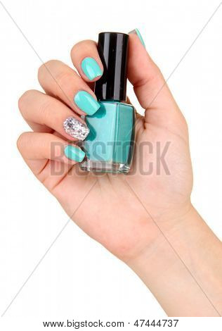 Beautiful woman hands with blue manicure,isolated on white
