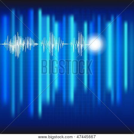 ECG Electrocardiogram medical blue background.