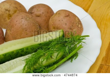 Potatoes, Salt Cucumber And Dill Still-life