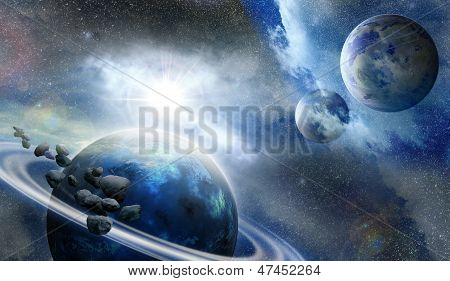 Planets And Meteorites In Space