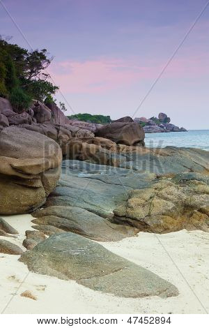 Rising tide on a sand beach Similian Islands Thailand