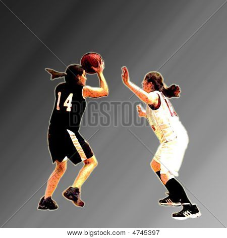 Basketball Girls Gradiant Backround
