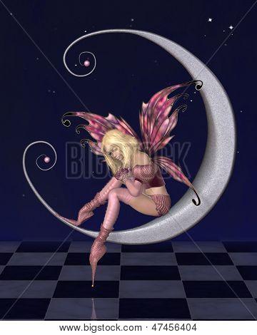 Pretty Pink Moon Fairy with Starry Nighttime Background