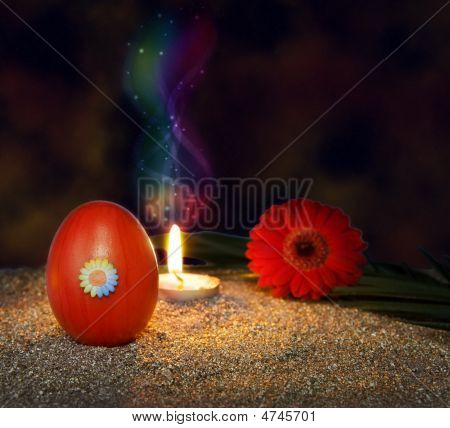 Spirit Of Jesus - Resurrection Candle And Red Egg On Easter Night