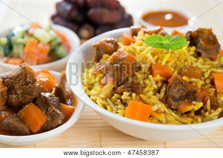 Arab rice, Ramadan food in middle east usually served with tandoor lamb and Arab salad.