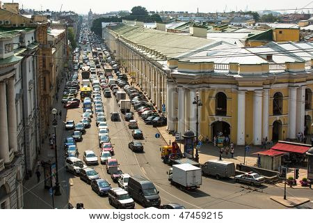 ST.PETERSBURG, RUSSIA - JUN 26: Top view of the Metro and mall Gostiny Dvor on Nevsky Prospect, Jun 26, 2013, SPb, Russia. Station opened on 1967, is one of busiest stations in the entire SPb Metro.