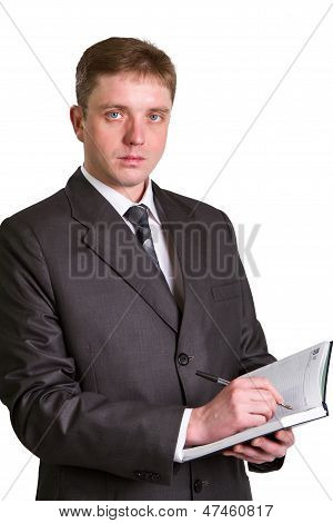 Businessman Holding A Pen Requesting A Signature On A Document