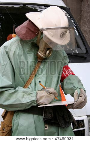 Firefighters In Chemical Protection Suit