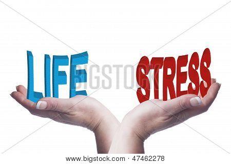 Mujer da equilibrio vida y estrés palabras 3D Conceptual imagen