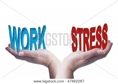 Female Hands Balancing Work And Stress 3D Words Conceptual Image