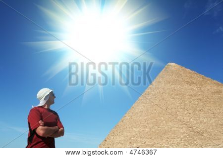 Man Look On Pyramid