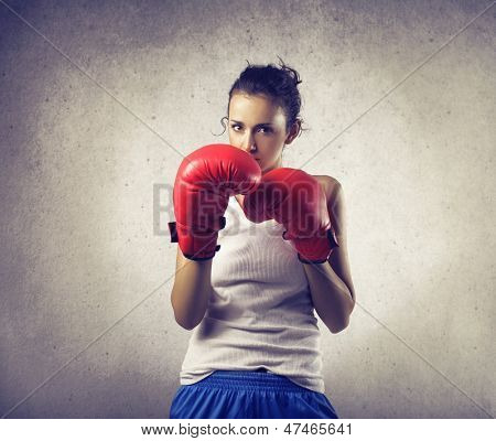brave woman does boxing