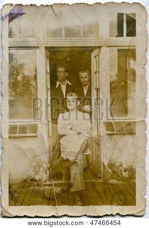 CZESTOCHOWA, POLAND, CIRCA THIRTIES- vintage photo of three men, Czestochowa, Poland, circa thirties