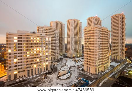 MOSCOW - DEC 3: Wide view of several high-rise residential buildings at Elk Island housing complex on December 3, 2012 in Moscow, Russia.