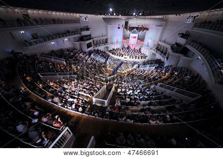 MOSCOW - SEPTEMBER 8: Public at IV Grand Festival of Russian National Orchestra in Tchaikovsky Concert Hall, on September 8, 2012 in Moscow, Russia.