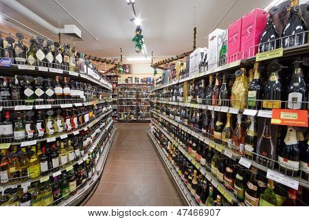 MOSCOW - DEC 8: Shelves with alcohol beverages in supermarket of home food Bahetle, December 8, 2012, Moscow, Russia. Currently company Bahetle has 25 stores.