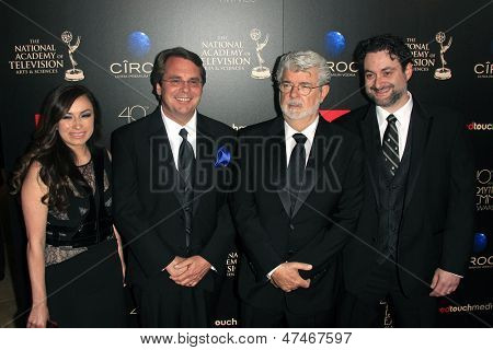 BEVERLY HILLS - JUN 16: Athena Portillo, Cary Silver, George Lucas, Dave Filoni at the 40th Annual Daytime Emmy Awards at The Beverly Hilton Hotel on June 16, 2013 in Beverly Hills, California