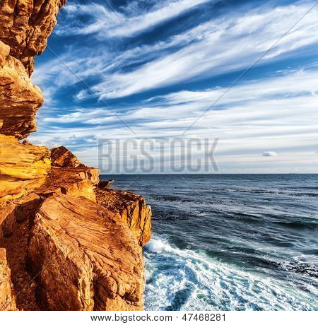 Rocky headland on the Atlantic coast of the Cape Peninsula, South Africa, most south-western point of the African Continent, Cape of Good Hope, beautiful natural background, mountain border