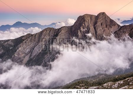 Landscape of famous Mt Jade east peak in Taiwan in the sunset, Asia. Mt Jade is the highest mountain in Taiwan and belong Yushan National park.