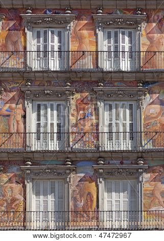 Casa de la Panaderia on Plaza Mayor in Madrid, Spain / architecture and art fragment