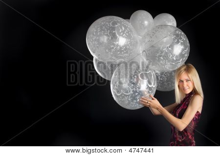 Cute Blue-eyed Blonde With Wonderful Balloons