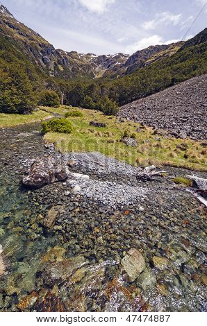 Mountain Stream On A Sunny Day