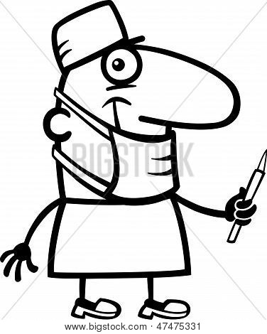 Surgeon Cartoon Coloring Page