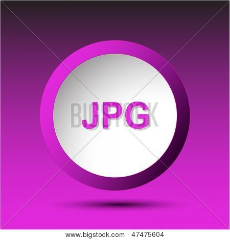Jpg. Plastic button. Vector illustration.