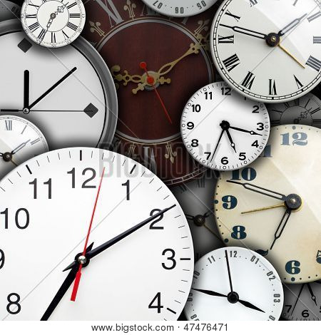 Background of many clock faces