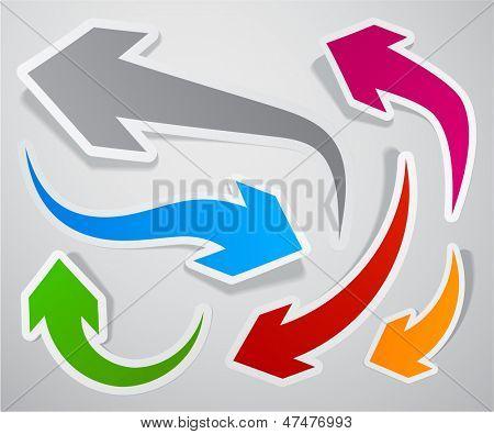 Ilustración de vector de colección pegajosa de flechas de papel de colores. Eps10.