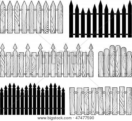 wooden b&w fences silhouettes vector