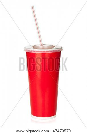 Red disposable cup with drinking straw. Isolated on white background