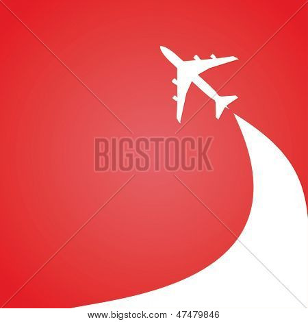 vector image of white silhouette of jet airplane