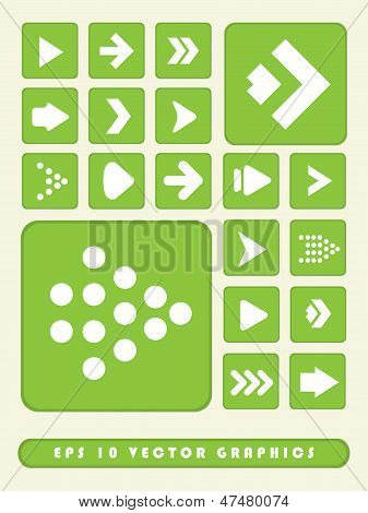 2D Green Arrow Icon Set Background