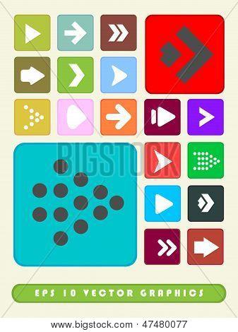 2D Multi Color Arrow Icon Set Background