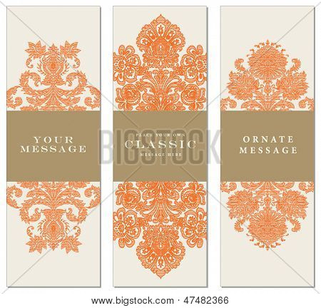 Vector Striped Ornament Frames. Easy to edit. Perfect for invitations or announcements.