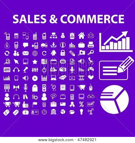 sales, commerce, marketing, market, analytics icons, signs set, vector