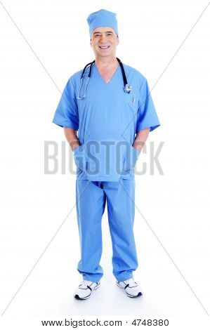 Smiling Male Surgeon In Blue Uniform