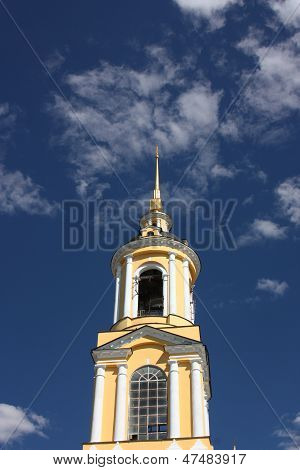 The Venerable bell tower in the Rizopolozhensky monastery. Russia, Suzdal