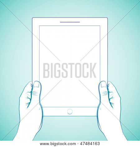 2 Hand holding a 10 inch tablet