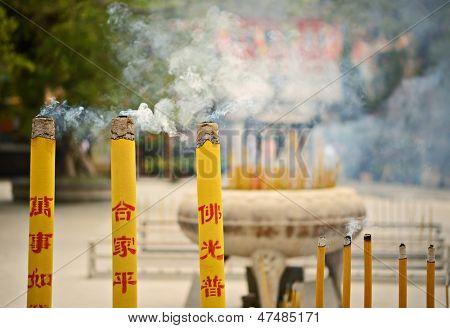 Incense burn at a temple on Lantau Island, Hong Kong SAR, China.